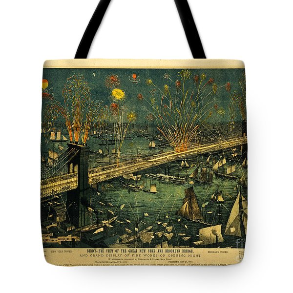 Tote Bag featuring the photograph New York And Brooklyn Bridge Opening Night Fireworks by John Stephens