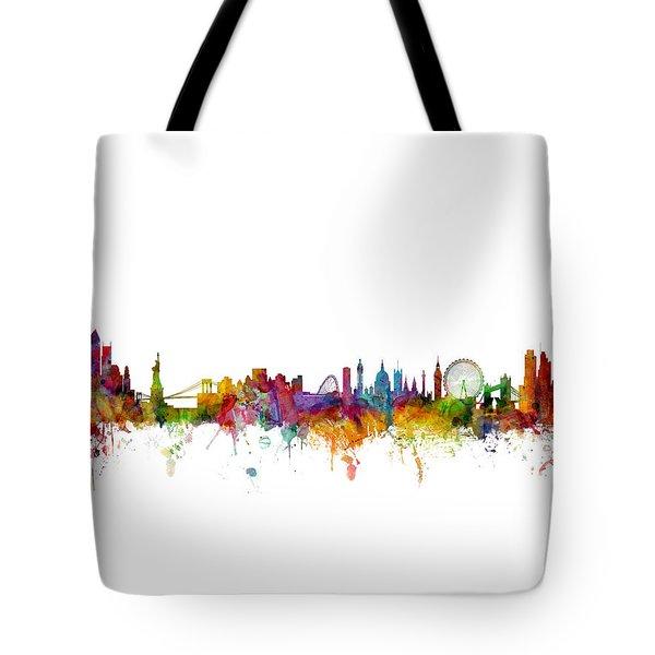 New York And London Skyline Mashup Tote Bag
