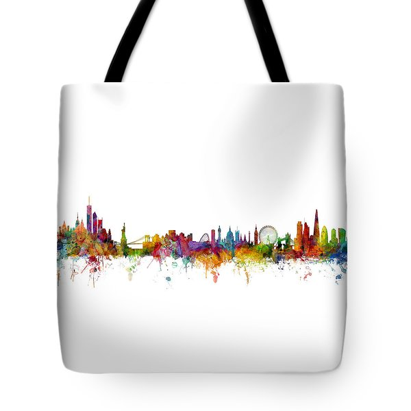 New York And London Skyline Mashup Tote Bag