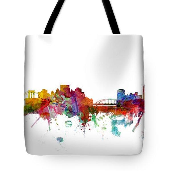 New York And Pittsburgh Skyline Mashup Tote Bag