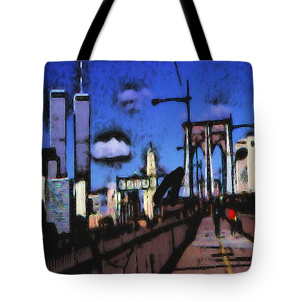 New York Blue - Modern Art Tote Bag by Art America Gallery Peter Potter