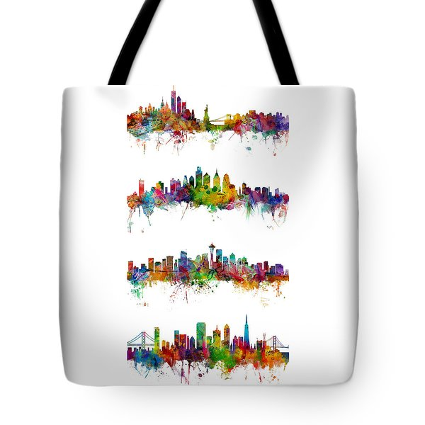 New York, Philadelphia, Seattle And San Francisco Skylines Tote Bag