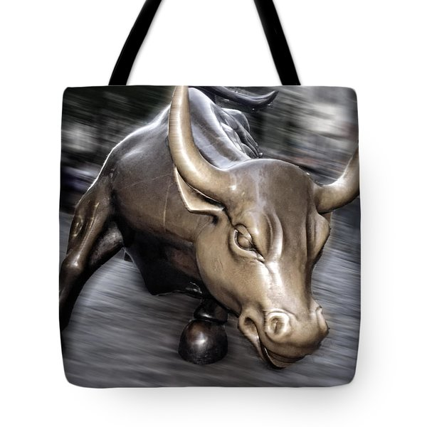 Tote Bag featuring the photograph New York Bull Of Wall Street by Juergen Held