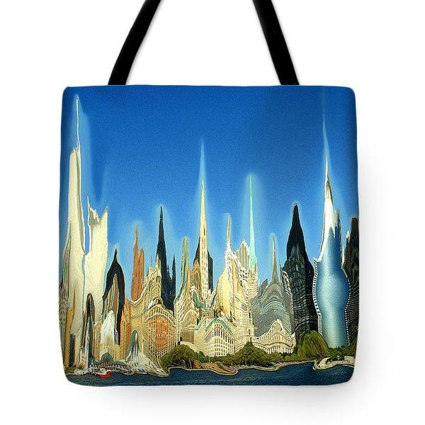 New York City Skyline 2100 - Modern Artwork Tote Bag
