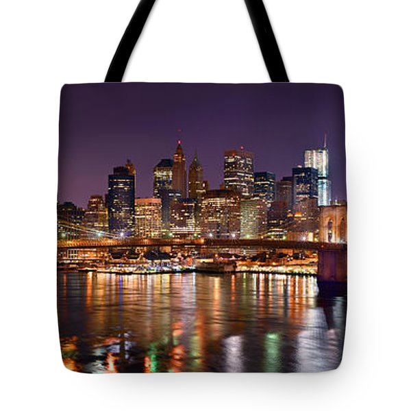 New York City Brooklyn Bridge And Lower Manhattan At Night Nyc Tote Bag by Jon Holiday