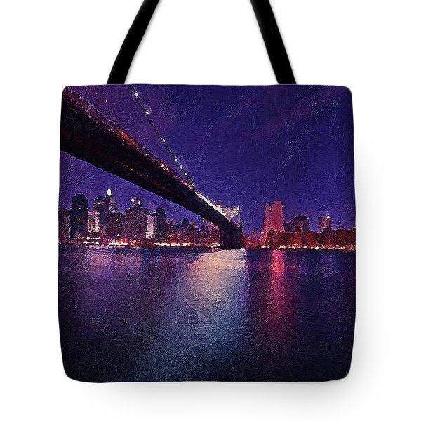 Tote Bag featuring the digital art New York City Brooklyn Bridge by PixBreak Art