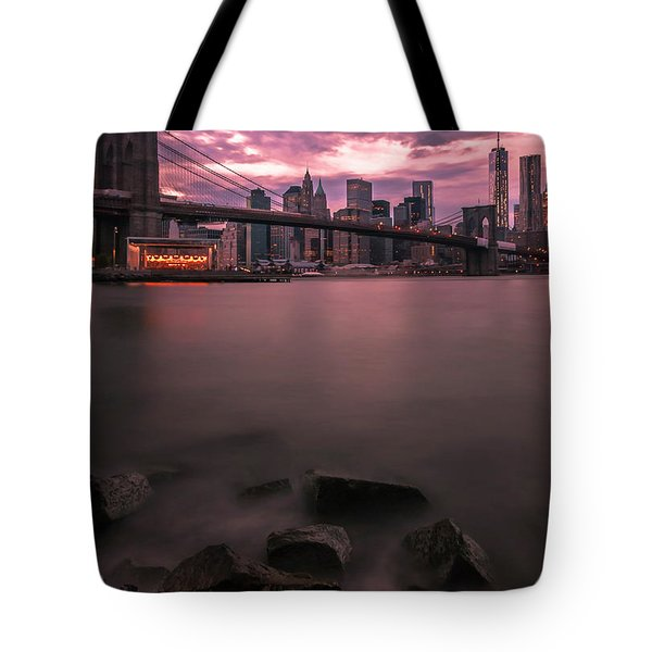 New York City Brooklyn Bridge Sunset Tote Bag