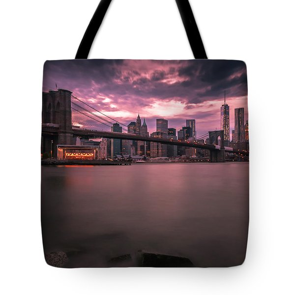 New York City Brooklyn Bridge Sunset Tote Bag