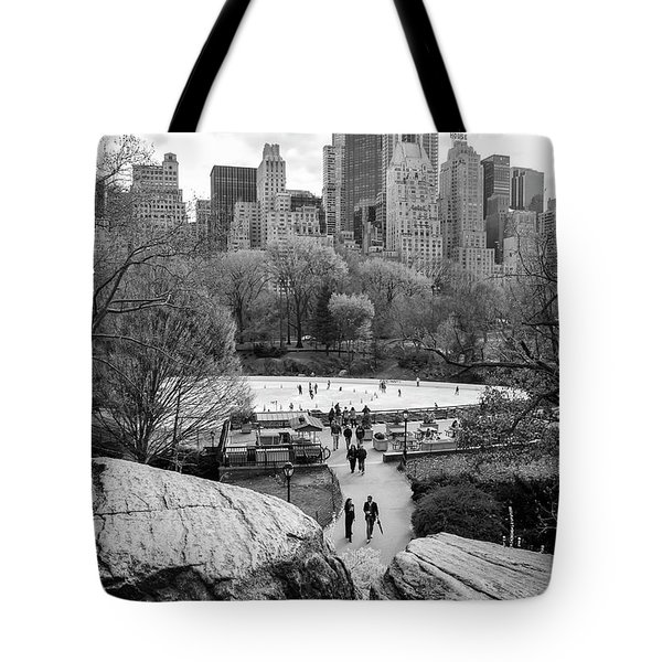 Tote Bag featuring the photograph New York City Central Park Ice Skating by Ranjay Mitra