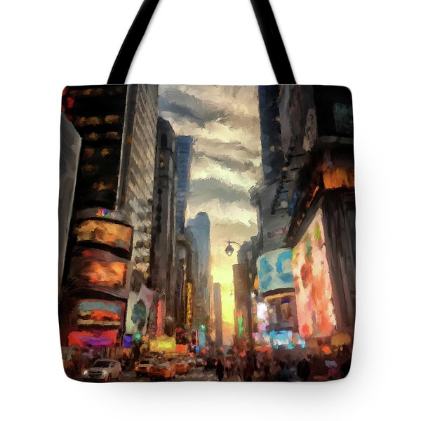 Tote Bag featuring the photograph New York City Lights by Lois Bryan