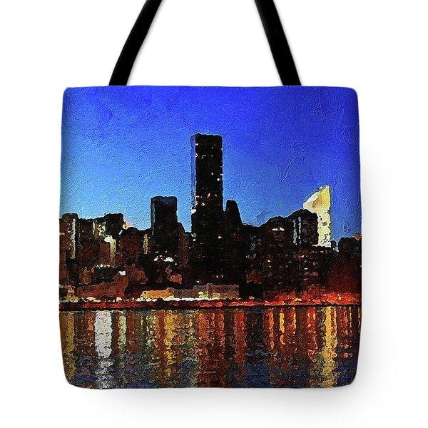 Tote Bag featuring the digital art New York City Night Lights by PixBreak Art