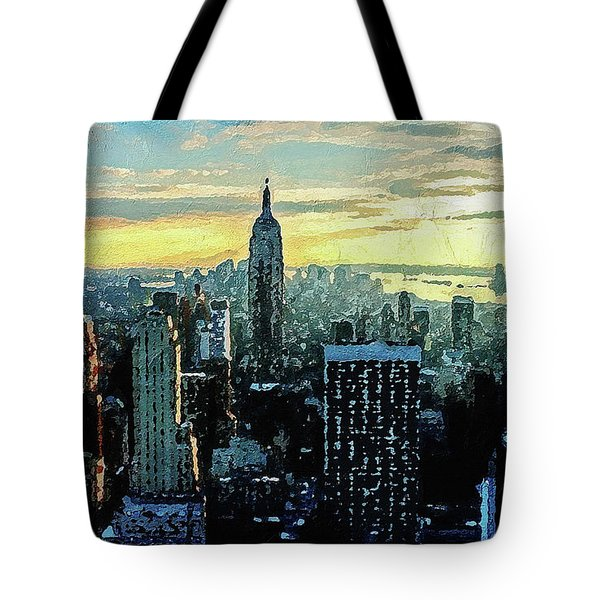 Tote Bag featuring the digital art New York City by PixBreak Art