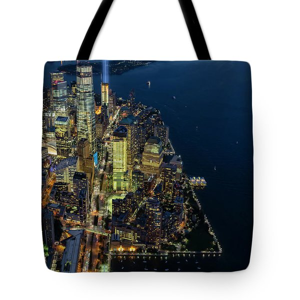 Tote Bag featuring the photograph New York City Remembers 911 by Susan Candelario