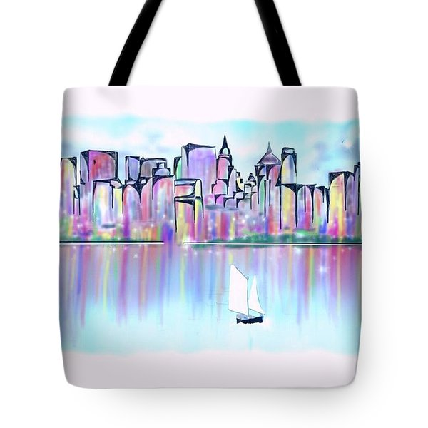 Tote Bag featuring the digital art New York City Scape by Darren Cannell