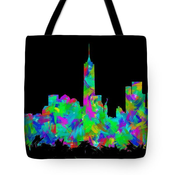 New York City Skyline Abstract Silhouette II Tote Bag
