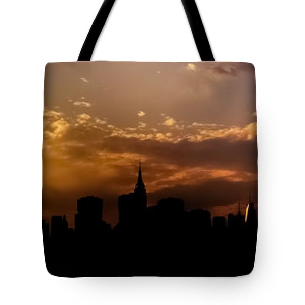 New York City Skyline At Sunset Panorama Tote Bag by Vivienne Gucwa