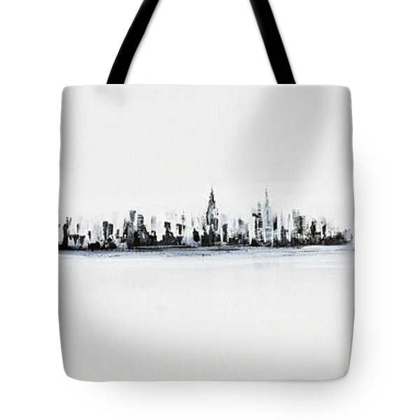 New York City Skyline Black And White Tote Bag
