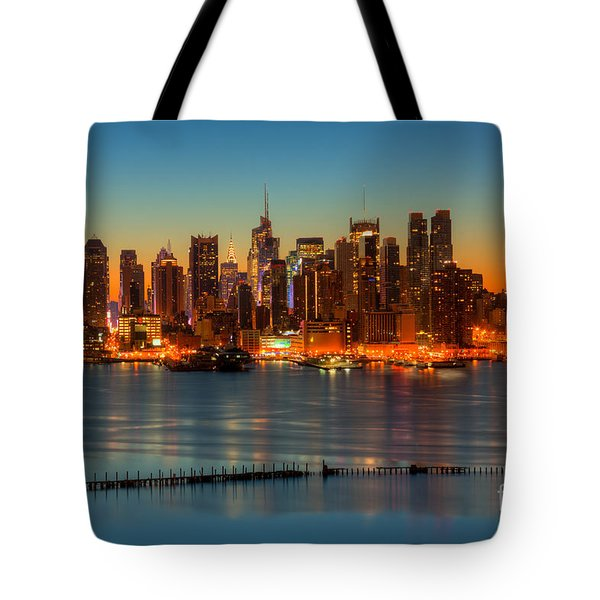 New York City Skyline Morning Twilight V Tote Bag by Clarence Holmes