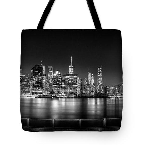 New York City Skyline Panorama At Night Bw Tote Bag