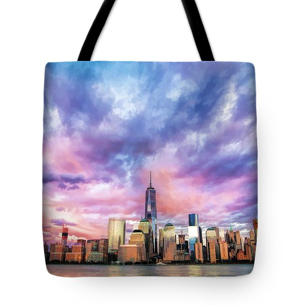New York City Skyline Sunset Tote Bag