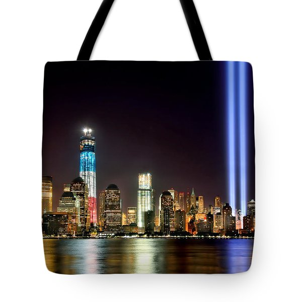 New York City Skyline Tribute In Lights And Lower Manhattan At Night Nyc Tote Bag by Jon Holiday