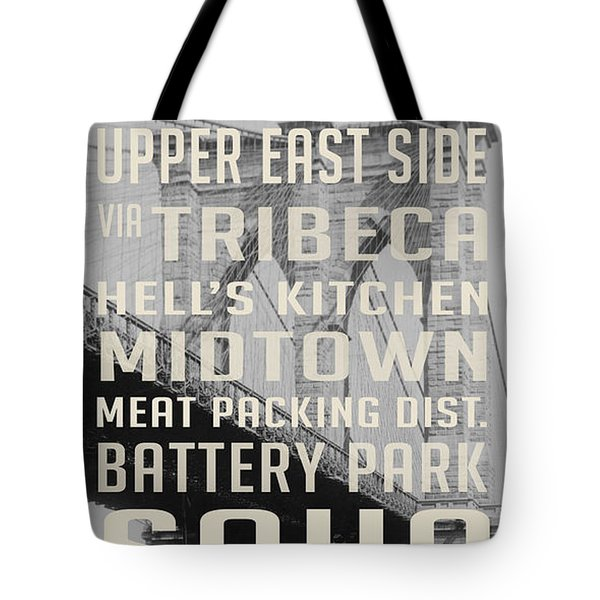 New York City Subway Stops Vintage Brooklyn Bridge Tote Bag by Edward Fielding