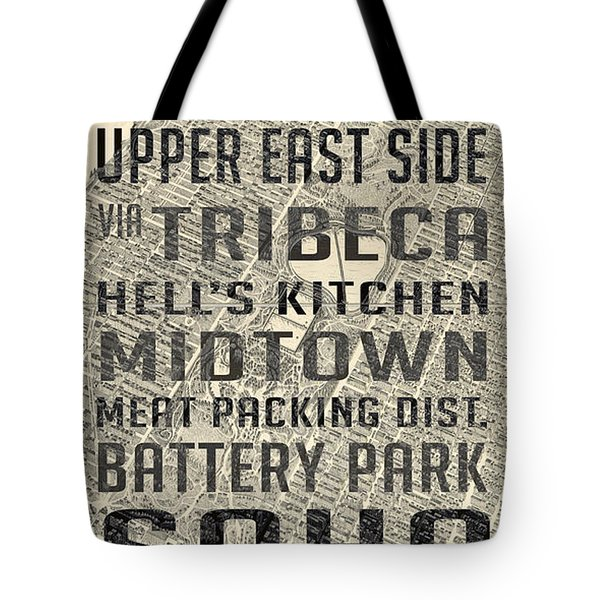 New York City Subway Stops Vintage Map 5 Tote Bag by Edward Fielding