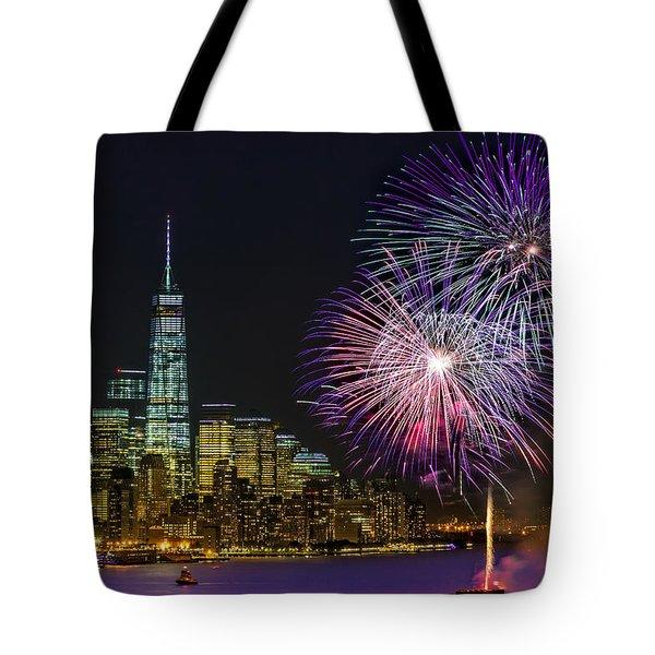 New York City Summer Fireworks Tote Bag