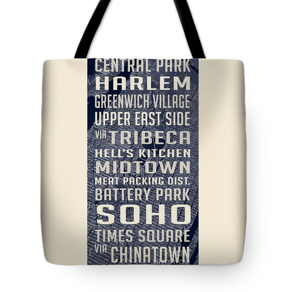 New York City Vintage Subway Stops With Map Tote Bag by Edward Fielding