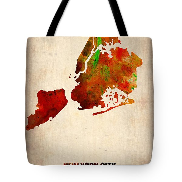 New York City Watercolor Map 2 Tote Bag by Naxart Studio