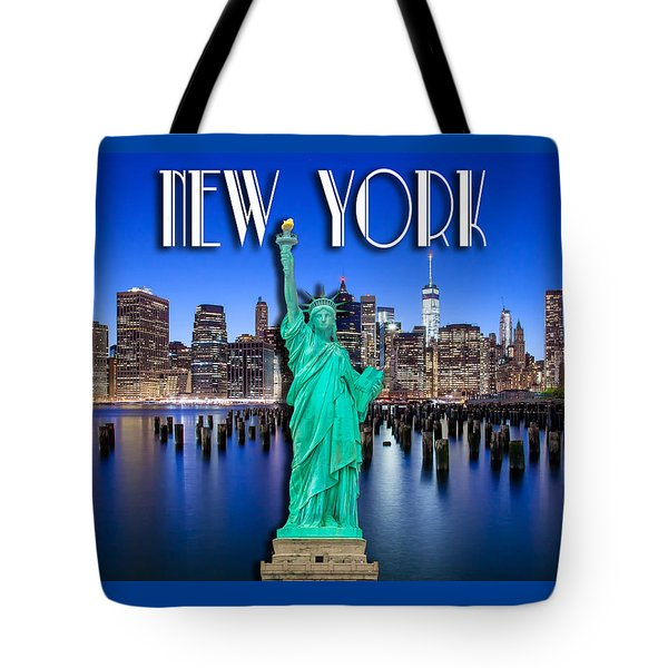 New York Classic Skyline With Statue Of Liberty Tote Bag
