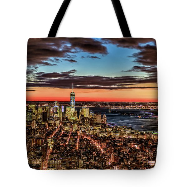 New York Electric Twilight Tote Bag by Rafael Quirindongo