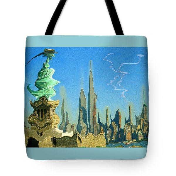 New York Fantasy Skyline - Modern Artwork Tote Bag