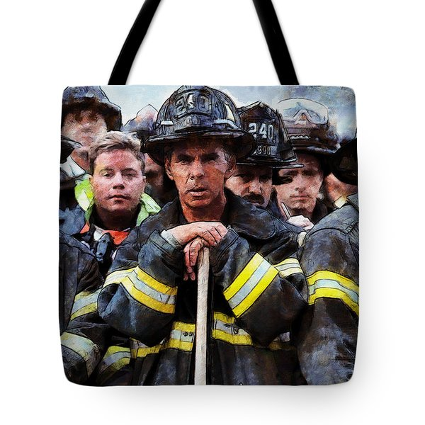 Tote Bag featuring the painting New York Firefighters After 9/11 by Kai Saarto