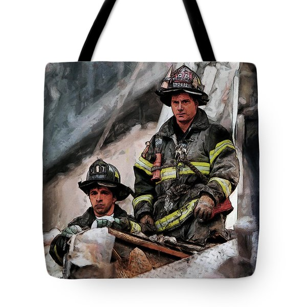 Tote Bag featuring the painting New York Firefighters After 9/11 Part 2 by Kai Saarto