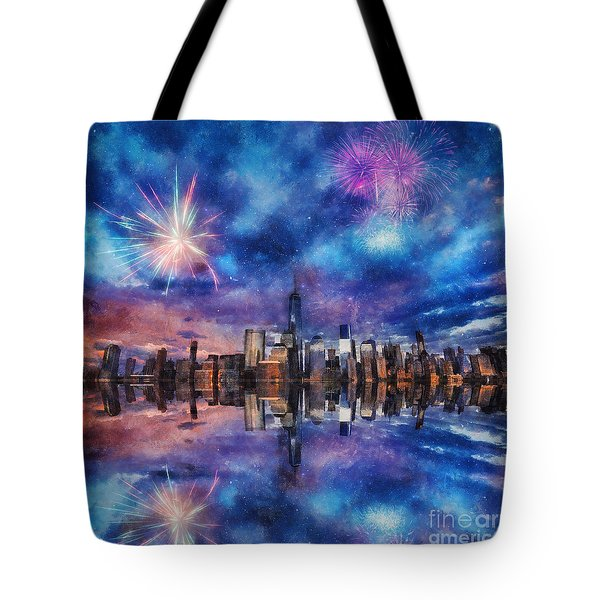 Tote Bag featuring the photograph New York Fireworks by Ian Mitchell