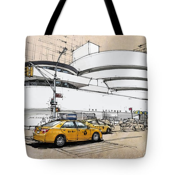 New York Guggenheim, Umbrellas And Yellow Cabs Tote Bag