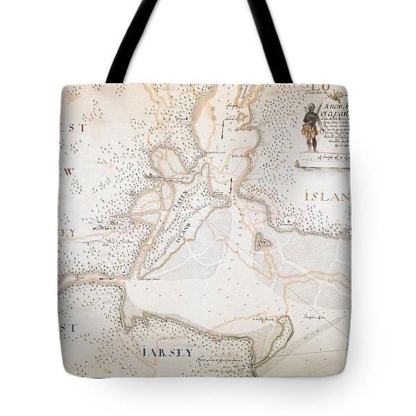 New York Harbor Map 1700 Tote Bag