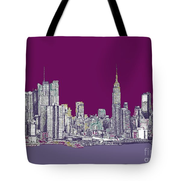 New York In Purple Tote Bag by Adendorff Design