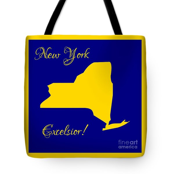 New York Map In State Colors Blue And Gold With State Motto Excelsior Tote Bag by Rose Santuci-Sofranko