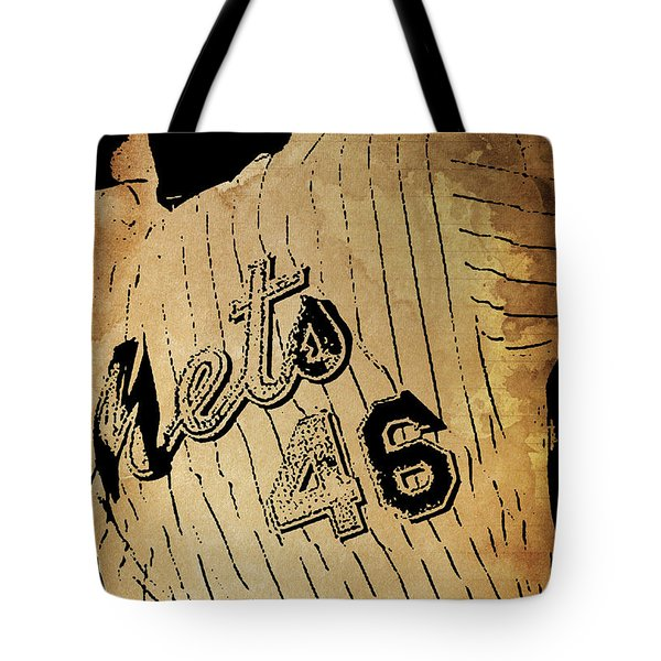 New York Mets 46 Red And Blue Vintage Cards On Brown Background Tote Bag