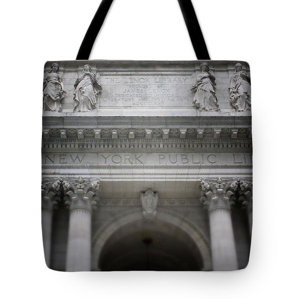 Tote Bag featuring the mixed media New York Public Library- Art By Linda Woods by Linda Woods