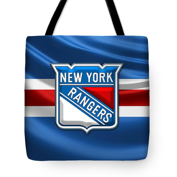 New York Rangers - 3d Badge Over Flag Tote Bag