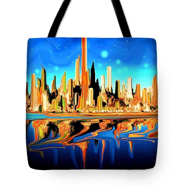 New York Skyline In Blue Orange - Modern Fantasy Art Tote Bag