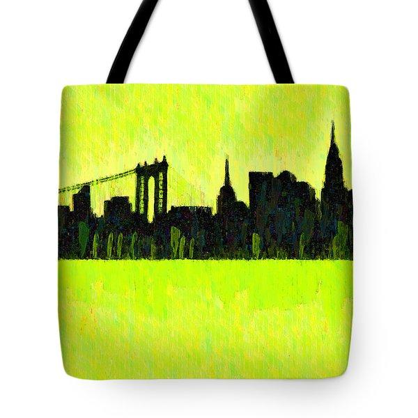 New York Skyline Silhouette Yellow-green - Da Tote Bag