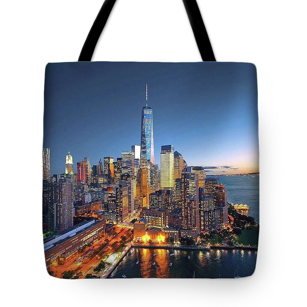 New York Skyline Sunset Tote Bag