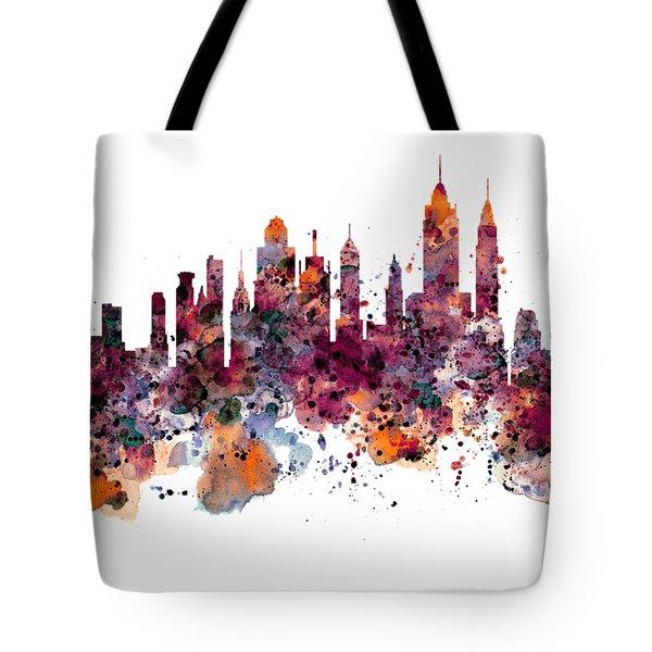 New York Skyline Watercolor Tote Bag
