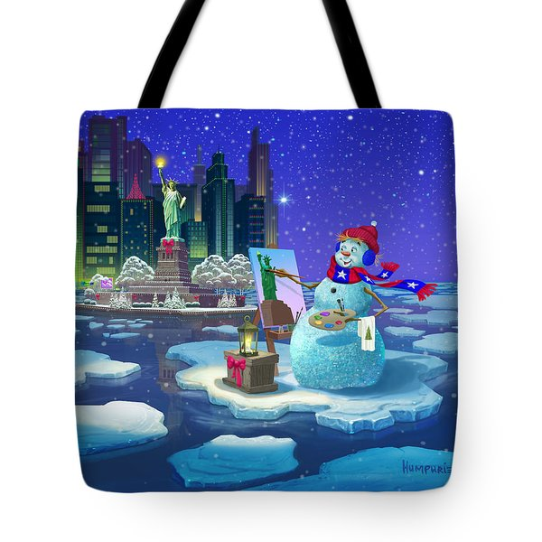 New York Snowman Tote Bag by Michael Humphries