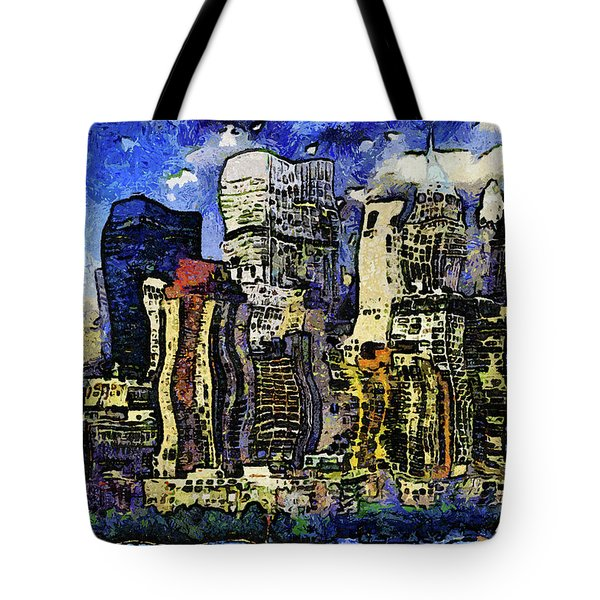 Tote Bag featuring the mixed media New York Stary Night Expressionism by Isabella Howard