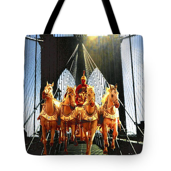 New York Brooklyn Bridge Fantasy Collage Tote Bag